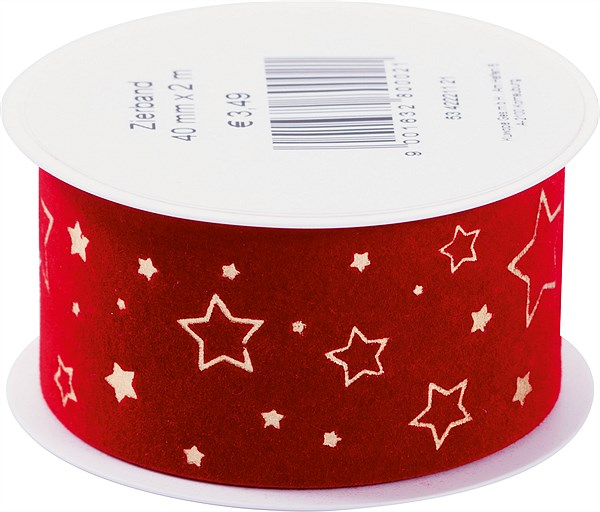 LIBRO_Zierband 40 mmx2m rot gold Sterne_€3,49