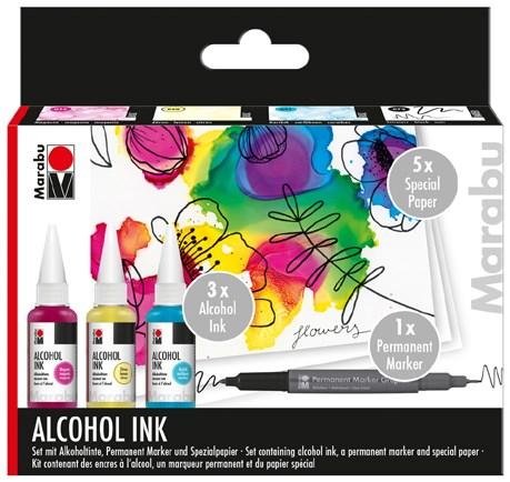 LIBRO_Marabu Alcohol Ink-Set Flowers_Alkoholtine, Permanentmarker_€15,99
